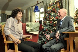 Pictures at Taliesin residential home, Bridge Street, Tonypandy. Tom Thatcher, Assistant Manager, left, chats to Ken Owen, aged 81, right