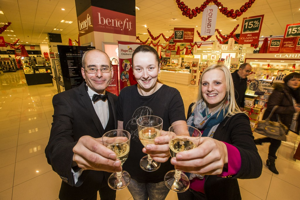 Debenhams at Eagles Meadow have held a Gala evening in support of Hope House. Rose Hamlet, centre with Owen ward from Debenhams and Hannah Penneym area fund raiser for Hope House.