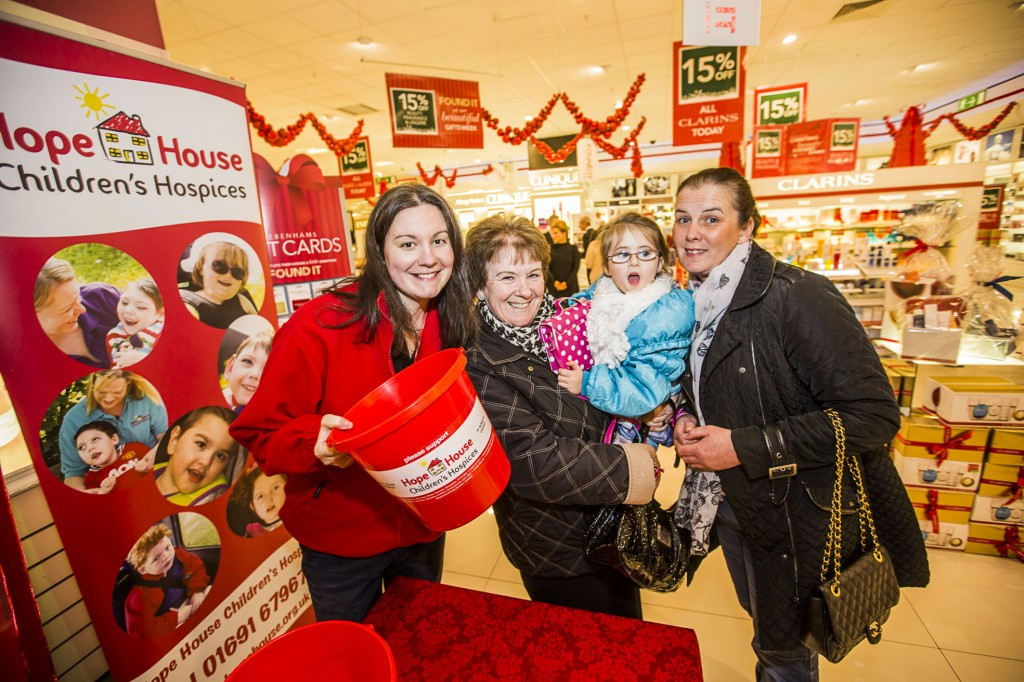 Debenhams at Eagles Meadow have held a Gala evening in support of Hope House. Rachel Jones from Hope House with Mrs Margaret Roberts, her grand daighter Chloe Roberts, 4 and daughter Nicola Evans