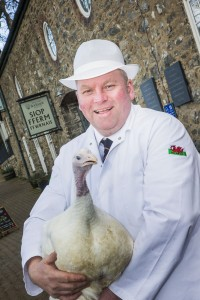 The new butchery manager at Bodnant Welsh Food Jason Fraser Bodnant Welsh Food Centre's new butchery manager Jason Fraser, with one of the turkeys that he has raised for Christmas