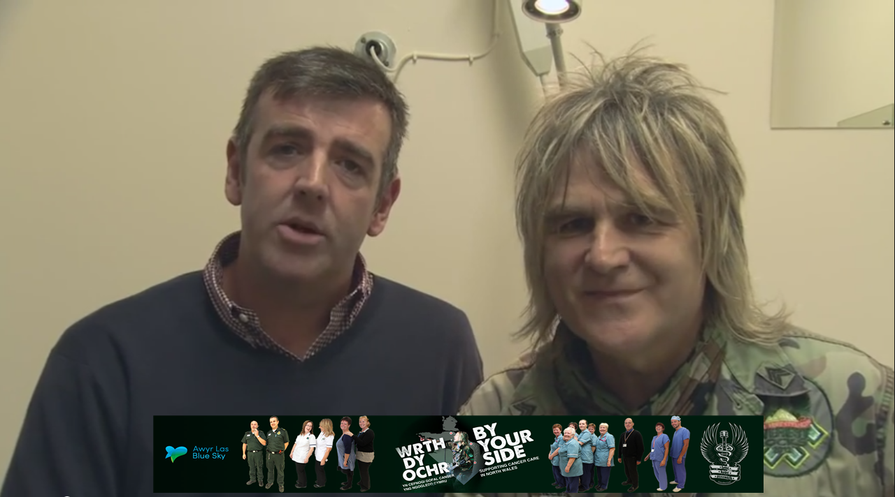 By Your Side Appeal cancer patient Irfon Williams to the left and Mike Peters to the Right