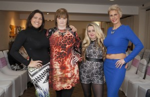 Fashionistas - Angela Jones and Mel Jones organised a fashion show at the Guild Hall Tavern in Denbigh to raise money for St Kentigern's Hospice. Pictured: Organiser Angela Jones, supporters Carol Jones, Joanne Sillett and Organiser Mel Jones ready for the show