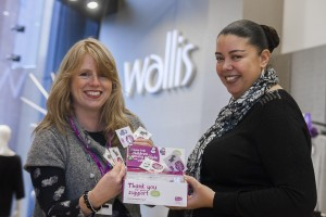 Wallis staff raise money for children's charity Clic Sergeant. Pictured is Rachel Driver, a support worker for the charity with Ali Davies, sales assistant at Wallis.