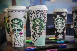 Eagles Meadow  Starbucks who are raising money for an Alzheimer's charity through a cup design competition.
