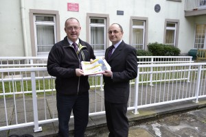 Gwynedd Council leads the way with road safety - Colin Jones, the Council's Road Safety Manager, with Gwynedd Cabinet Member for road safety matters, Councillor Dafydd Meurig.
