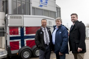 Ifor Williams Trailers, Deeside  Norwegian guests visit the factory on Deeside industrial Estate. Pictured (front Left) is Peter Nesbitt, Business Development Manager IWT with Nils Duenger and Henrik Been.