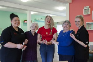 Hilbury residents to have a makeover session with Aspiring Beauty Queen Kerrie Reveley. Pictured are (from left) Sabrina Rafferty Princes' Trust, resident Ceinwyn Jones, Kerrie Reveley, resident Annice Thomas and Sophie Evans Princes' Trust.