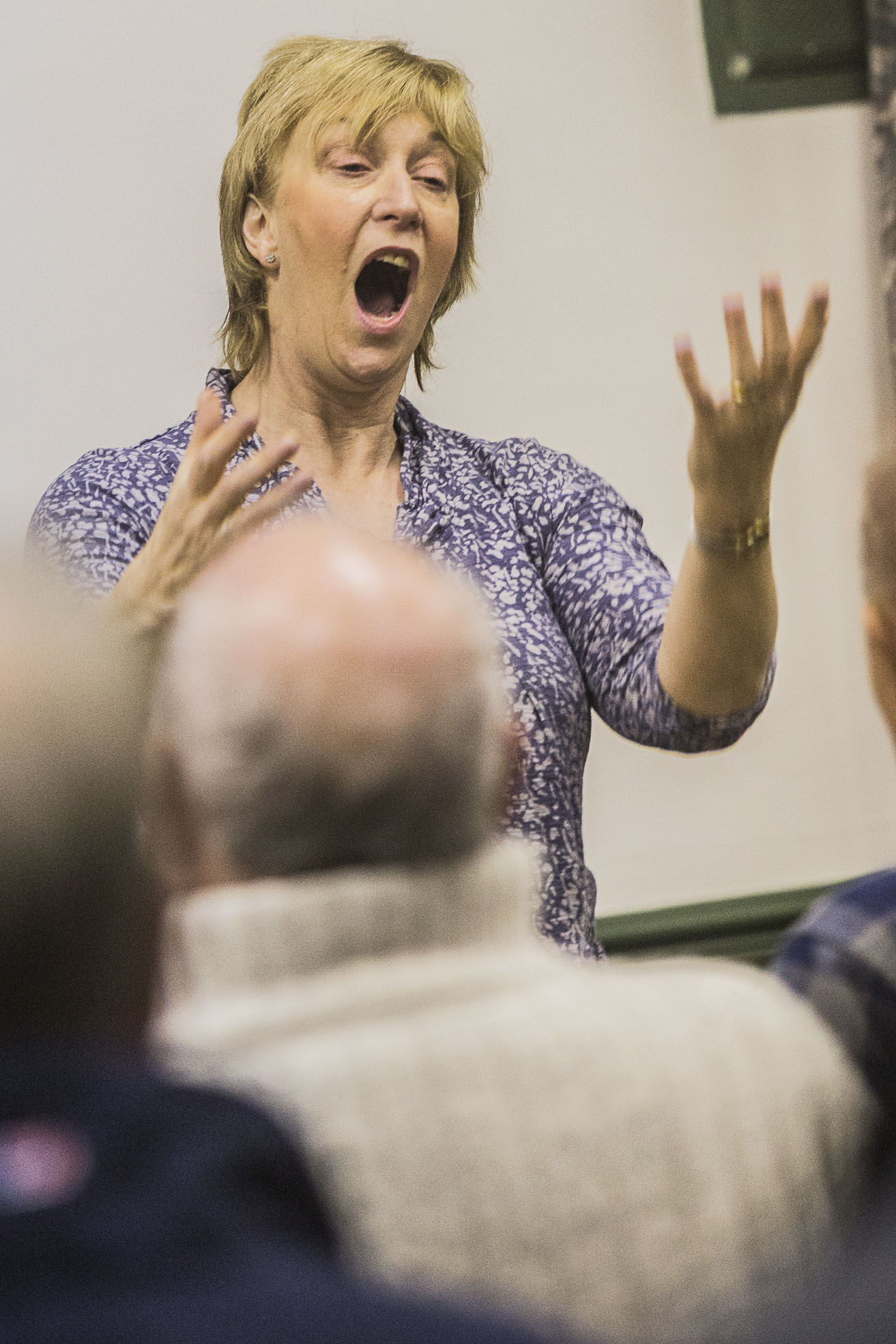 Trelawnyd Male Voice Choir's conductor, Ann Atkinson at work