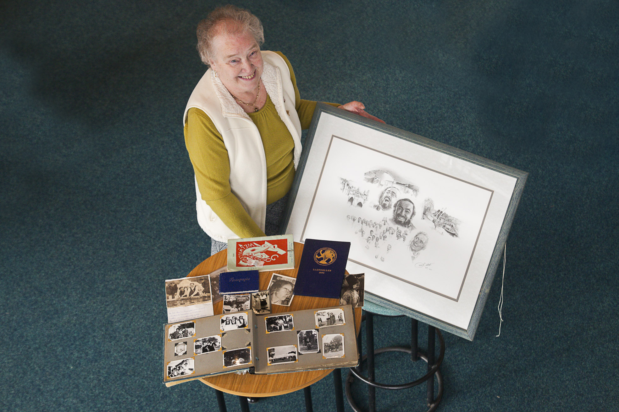 Llangollen Eisteddfod pictured is Hafwen Ryder, with her Eisteddfod memorabilia.