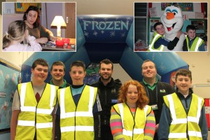 Dafydd Williams and Iolo Roberts (CCG), PCSO Jonathan Peris-Jones and Dreamscheme members. Insert 1: Llinos Morris facepainting. Insert 2: Olaf from Frozen.