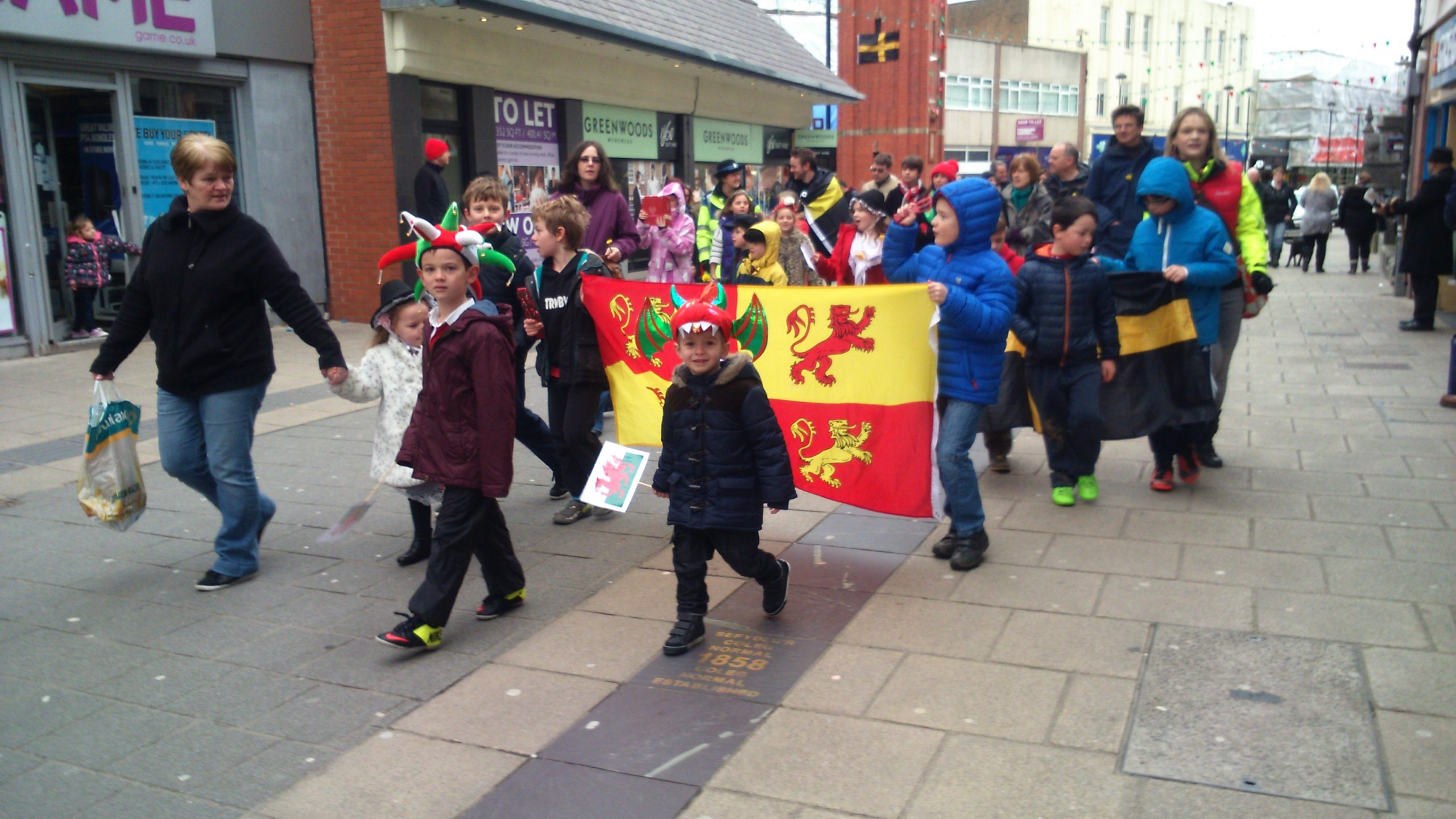 St David's Day parade at Bangor High Street.