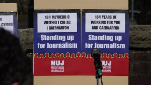 The National Union of Journalists (NUJ) held a rally today against Trinity Mirror's plans to shut down their Caernarfon office.