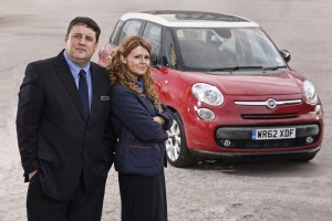 Peter Kay and Sian Gibson in Car Share on BBC 1. Photographer: Matt Squire