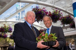 Swansea in Bloom Chairman Leighton Evans, left, and Ian Kirkpatrick, Manager of the Quadrant Shopping Centre, at the launch of the Swansea Schools Gardens Competition.