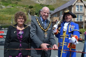 Mayor of Llandudno, Cllr Frank Bradfield , and Town Crier Billy Baxter open the fete