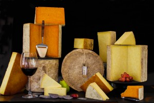 A selection of cheeses from Bodnant Welsh food centre