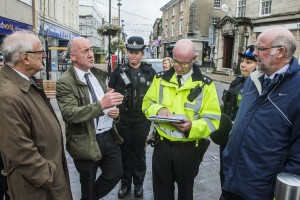 Police and Crime Commissioner Winston Roddick meets Peter Gaffey, anti social behaviour officer in Bangor with PC Lisa Thomas, Inspector Brian Kearney, PCSO Dominique Roberts and Deputy PCC Julian Sandham.