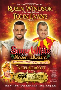 Robin Windsor and comedian John Evans set to star in Snow White and the Seven Dwarfs.