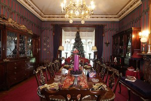 One of the 52 rooms at Abbey-Cwm-Hir decorated for Christmas.