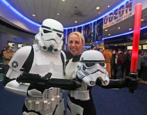 Actress Lindsay Goodhand dashed straight from the Clwyd Theatr Cymru stage having changed from a fairy godmother into a storm trooper.