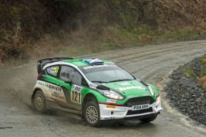 David Bogie and Kevin Rae in their Ford Fiesta R5+, the 2015 overall event winners. Photo: Rally Sport Media
