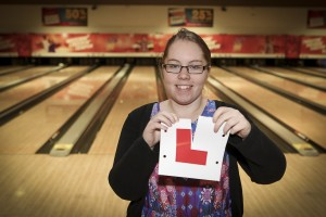 Eagles Meadow. TenPin manager Cath Leask has passed her driving test after 6 fails.  Pictured: Ripping up her L Plates