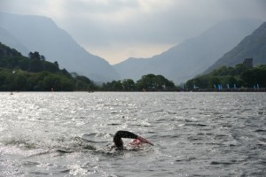 A swimmer tackling Padarn Lake during last year's Triathlon.