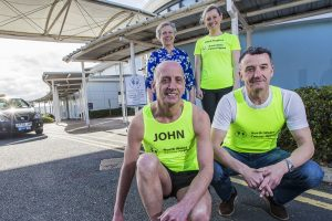 Ex footballer Barry Horne is running the London Marathon in aid of North Wales Cancer Centre. He is pictured with the North Wales Cancer Centre's head of radiology Carmel Barnett, and other runners, Steph Hughes from the Vale of Clwyd, and John Jones from Powlsons Press in Colwyn Bay.