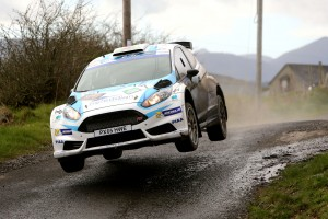 We have lift off - Tom Cave and James Morgan in action in the Circuit of Ireland Rally.