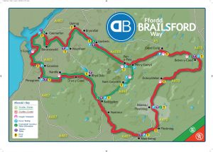 A map of the 50-mile and 75-mile Brailsford Way cycle routes.