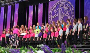 Cor Ieuenctid Mon perform on the Llangollen International Music Festival stage.