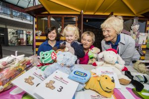 Wrexham Friends of Hope House children's hospice have held a special holiday event in the Roald Dahl story shack in Eagles Meadow in Wrexham. Elin Davies, 4 with Megan Price, Karen Price and Edna Jones.