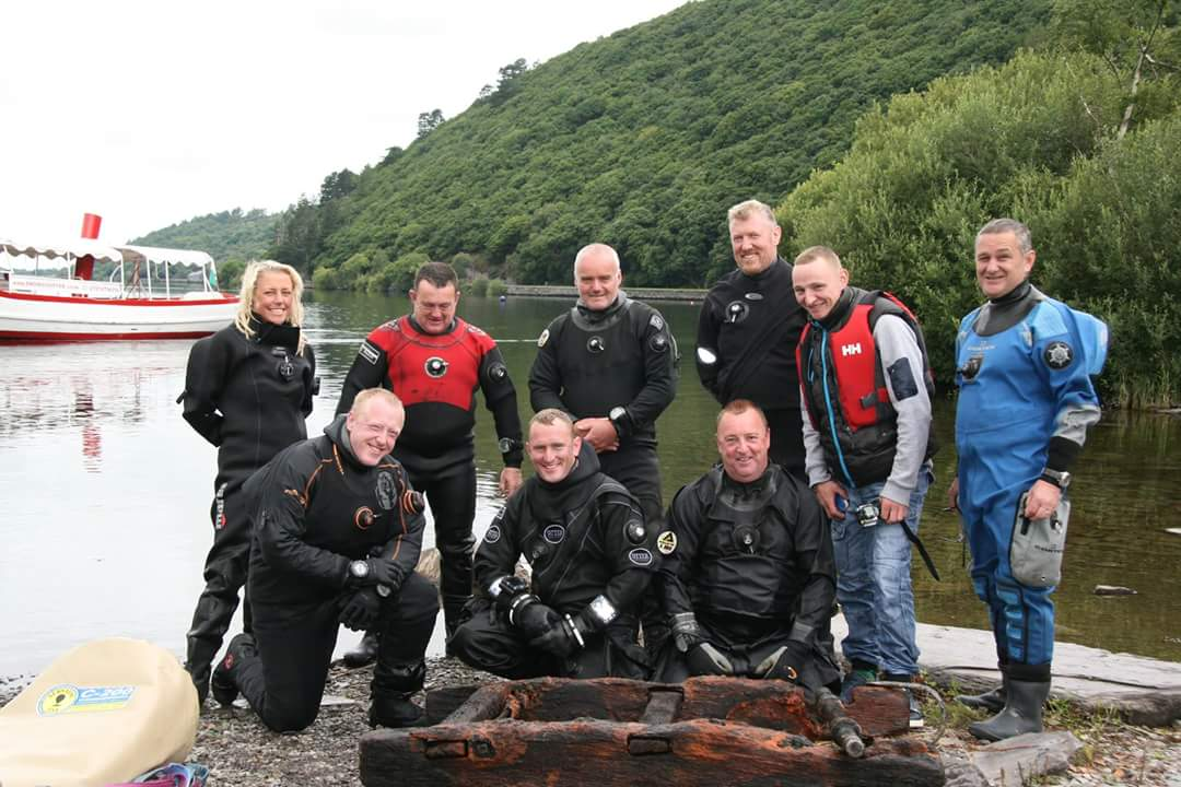 Scuba divers from Anglesey use giant balloon to raise 110-year-old Welsh slate rail wagon from depths of Llyn Padarn