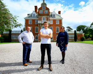 Director of Carringtons Catering and Master Chef of Great Britain Darren Wynn with fellow Director Helen Wynn and Brand Manager of Bodrhyddan Hall Tom Rowley-Conwy.