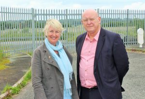 Hywel Williams MP and Siân Gwenllian AM outside the empty Ferodo site in Caernarfon.