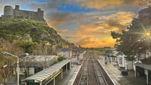 A spectacular view of Harlech Castle from the Cambrian Coast Railway.