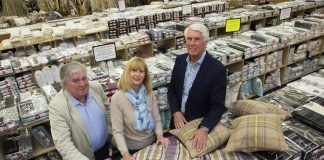 Business is sew good...pictured (Front L/R) are Peter Grimes and Cara Huxley from Simon Boyd and  Michael Coxey .