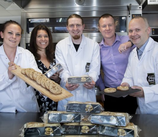 Village Bakery Crumpet award.... Pictured from left are Nina Czajkowska, Liz Totty, Chris O'Kelly, Mike Sheen and Simon Thorpe from the Village Bakery with their award winning crumpets.