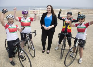 Colwyn BID ; Pictured is Cheryl Williams from Colwyn BID with cyclists Ruth Threadgold, Sharon Williams Julie Allen and Sue Williams.