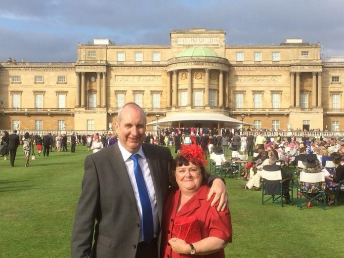 Ann Farr and her fiancé William Serridge at Buckingham Palace.