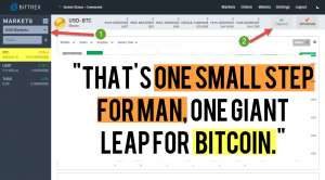 "Bittrex exchange will let investors swap their dollars for cryptocurrency. ""That's one small step for man, one giant leap for Bitcoin."""
