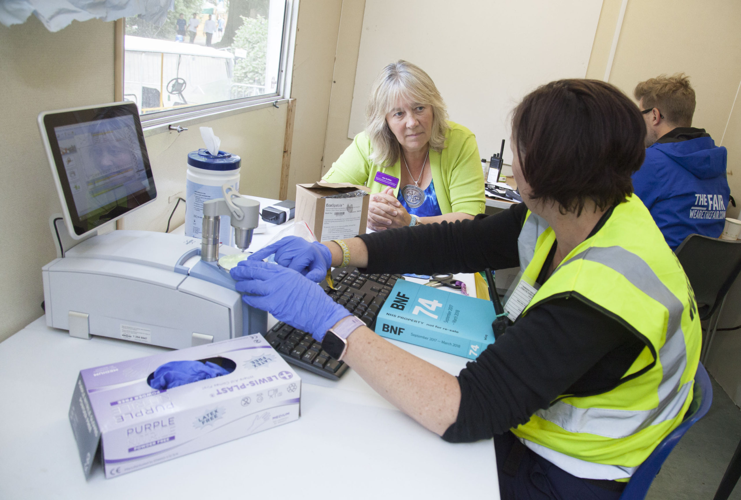 Deputy Police Crime Commissioner Ann Griffith visits Gottwood Festival in Anglesey and visits the Drug Test Area where drugs are tested for purity