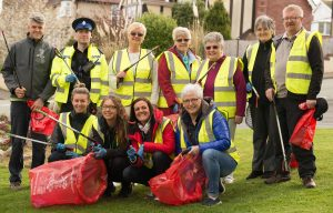 Cartrefi Conwy staff and residents ready to collect litter on the Fron estate in Old Colwyn.