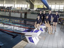 Anwyl provide starting blocks for Cambrian Aquatic Sports in Connah's Quay. From left, Laura Sharp, Kristian Ellis, Abbie Holl, Zac Winn and Erin Roberts