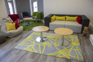 Modern breakout zones have been created for staff and informal meetings at the Hadlow Edwards offices.