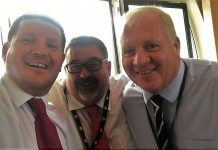 Cllrs Jason Parry, Dilwyn Lloyd and Roy Owen who have been the driving forces behind Trons Dy Dad.