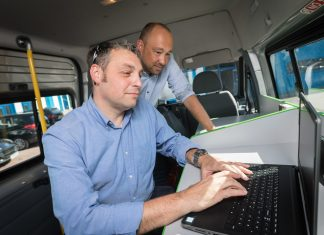 Jason Palmer, Voluntary Veteran Officer CVSC with Richard Chance Employment Support Officer for Creating Enterprise on the Jobs Bus