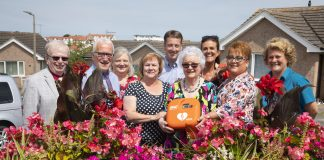 The Parkway Coffee Club, led and organised by Joyce Stubbs has bought a defibrillator for Cartrefi' Conwy's Parkway Community Centre in Rhos. Pictured are (L/R) Cllr Jeff Pearson, Bill Hunt, Kath Pearson, Cllr Glenys Baker, Steve Harris,Nerys Veldhuizen, Joyce Stubbs, Ceri Twist independent Living Manager, Cartrefi Conwy and Jennifer Richardson.