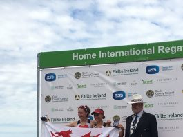 Lucy is pictured on the podium with fellow Welsh rower Rebekah Edgar