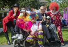 Pendine Park family and residents fun day ; Pictured (from Left) are Elaine Lee, Sian Ferrier, James Wallice, Steven Ferrier and Chris Lewis.